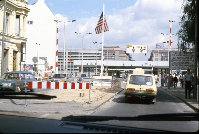 Checkpoint charlie missing american guard stand only days after wall fell was gone..jpg
